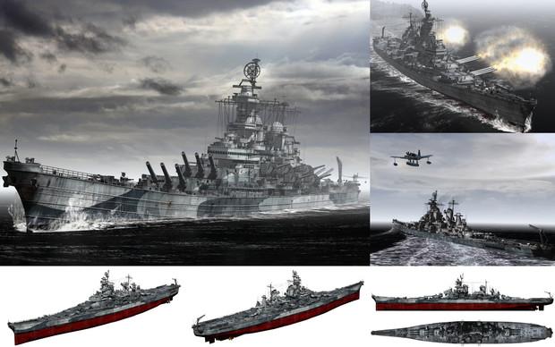 MMD用モブ超弩級戦艦1944(モブオワ級モブーリ)セット